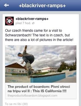 Print screen z +blackriver-ramps+ kam kluci nasdíleli náš článek o 2. výletu k nim do revíru. Popularita a ego stoupá.. 14.10.2013